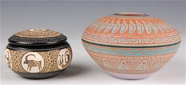 TWO PIECES OF CONTEMPORARY NATIVE AMERICAN POTTERY