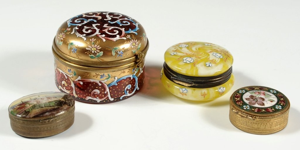 FOUR 19TH CENTURY GLASS AND ENAMELED BOXES