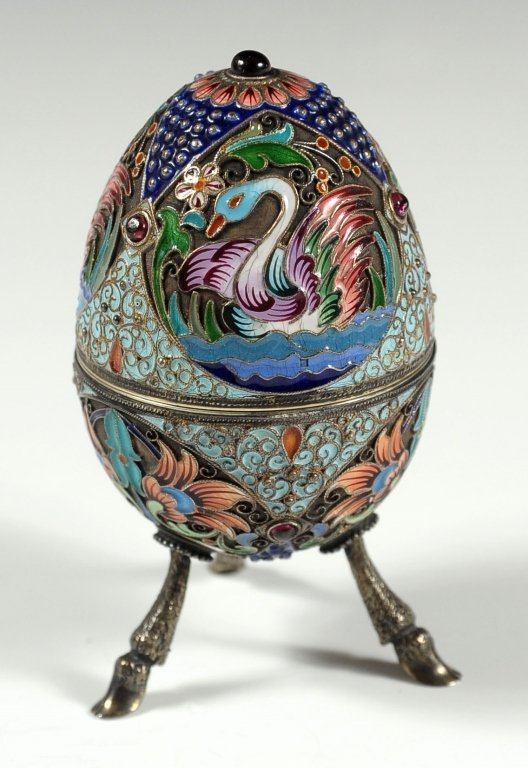 19TH C. RUSSIAN CHAMPLEVE AND GILT SILVER ENAMEL EGG