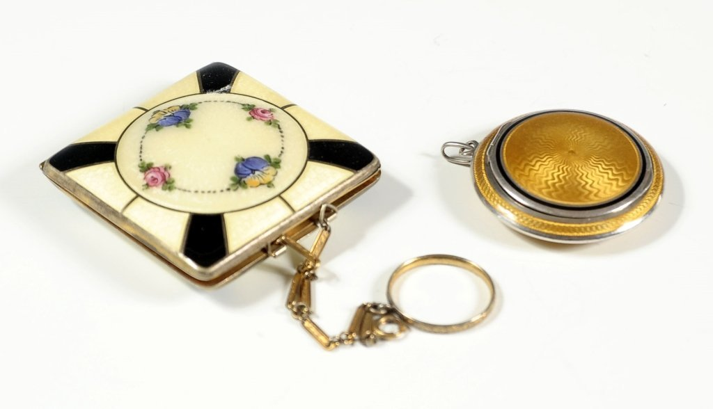 GUILLOCHE ENAMEL COMPACTS INCLUDING FRENCH SILVER