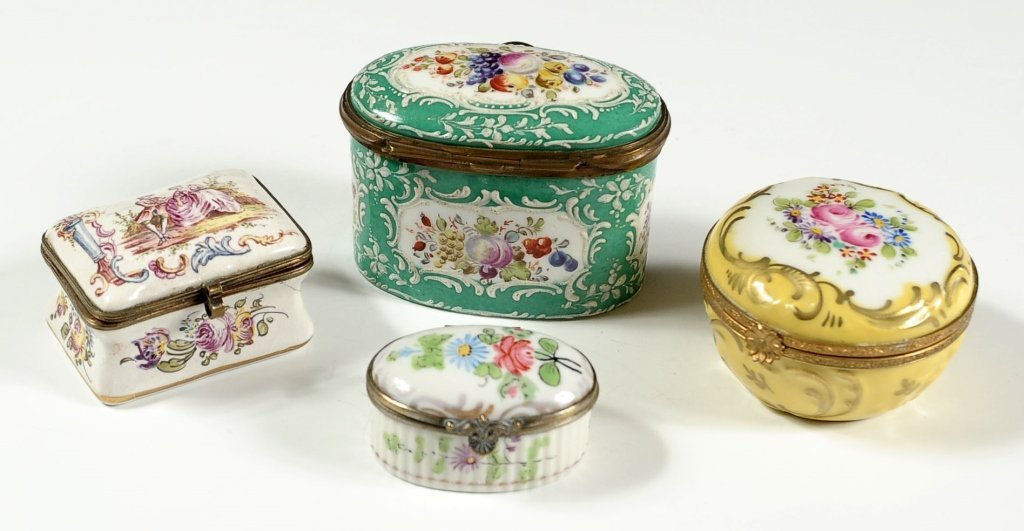 SEVRES AND OTHER PORCELAIN BOXES, 18TH C. ENAMEL