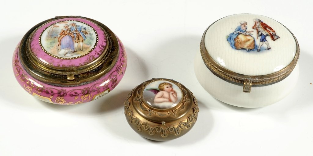 THREE PORCELAIN AND BRASS BOXES