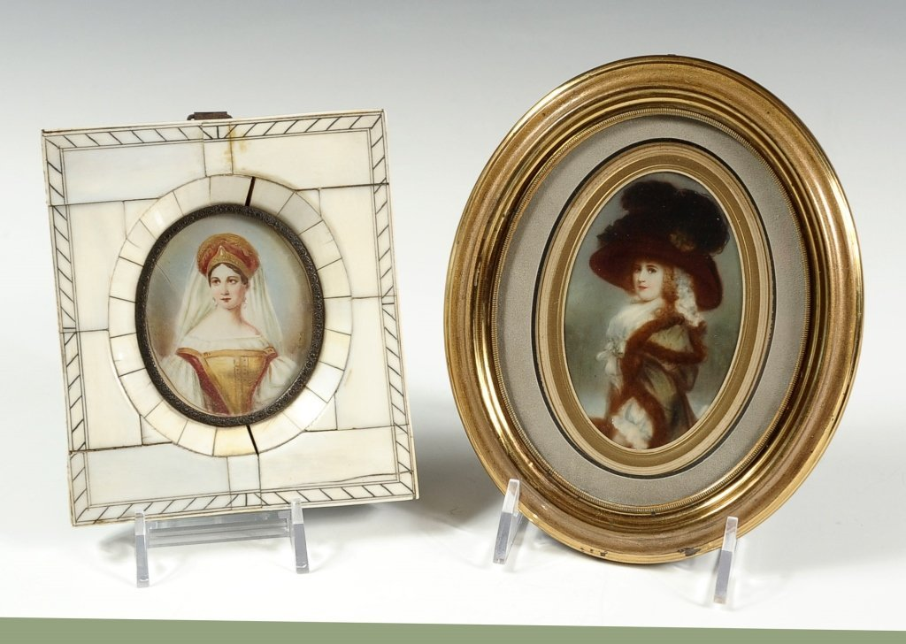 TWO HAND PAINTED MINIATURES ON IVORY