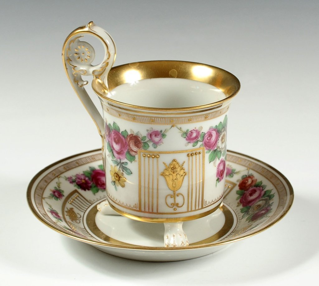 CONTINENTAL PORCELAIN EMPIRE STYLE CABINET CUP SAUCER