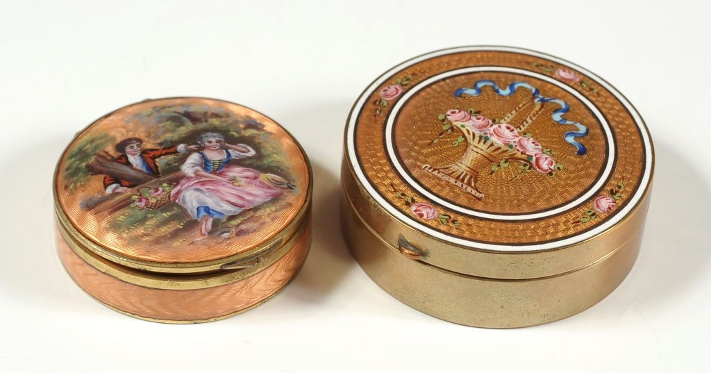TWO NICE ENAMELED COMPACTS