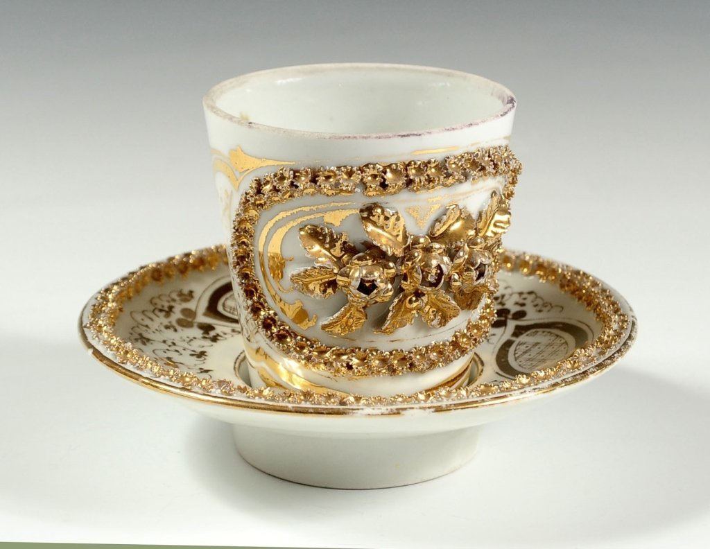 RUSSIAN (?) PORCELAIN CABINET CUP AND SAUCER SET