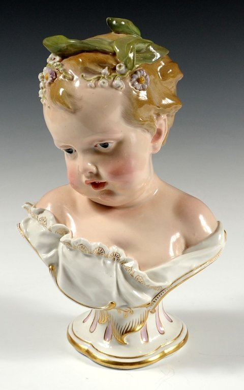 LARGE 19TH CENTURY MEISSEN BUST OF A CHILD