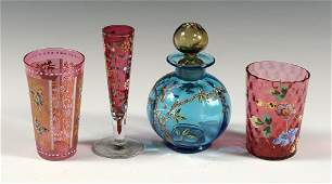 LOT OF ENAMELED VICTORIAN GLASS INCLUDING CRANBERRY