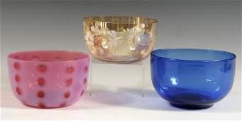 THREE VICTORIAN ART GLASS FINGER BOWLS
