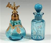 TWO VICTORIAN ENAMELED GLASS SCENT BOTTLES