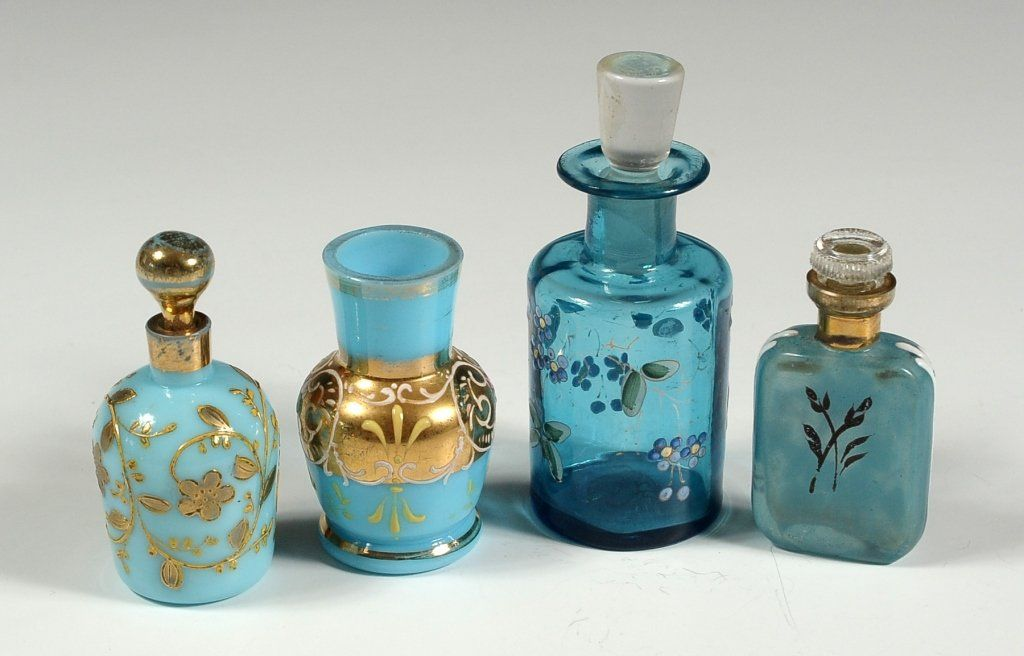 THREE SMALL VICTORIAN ENAMELED GLASS SCENT BOTTLES
