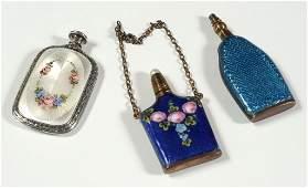 THREE SMALL PERFUMES WITH ENAMEL DECORATION