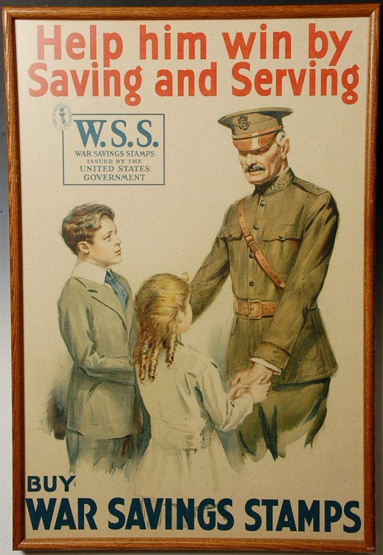 HELP HIM WIN BY SAVING AND SERVING WSS WWI POSTER