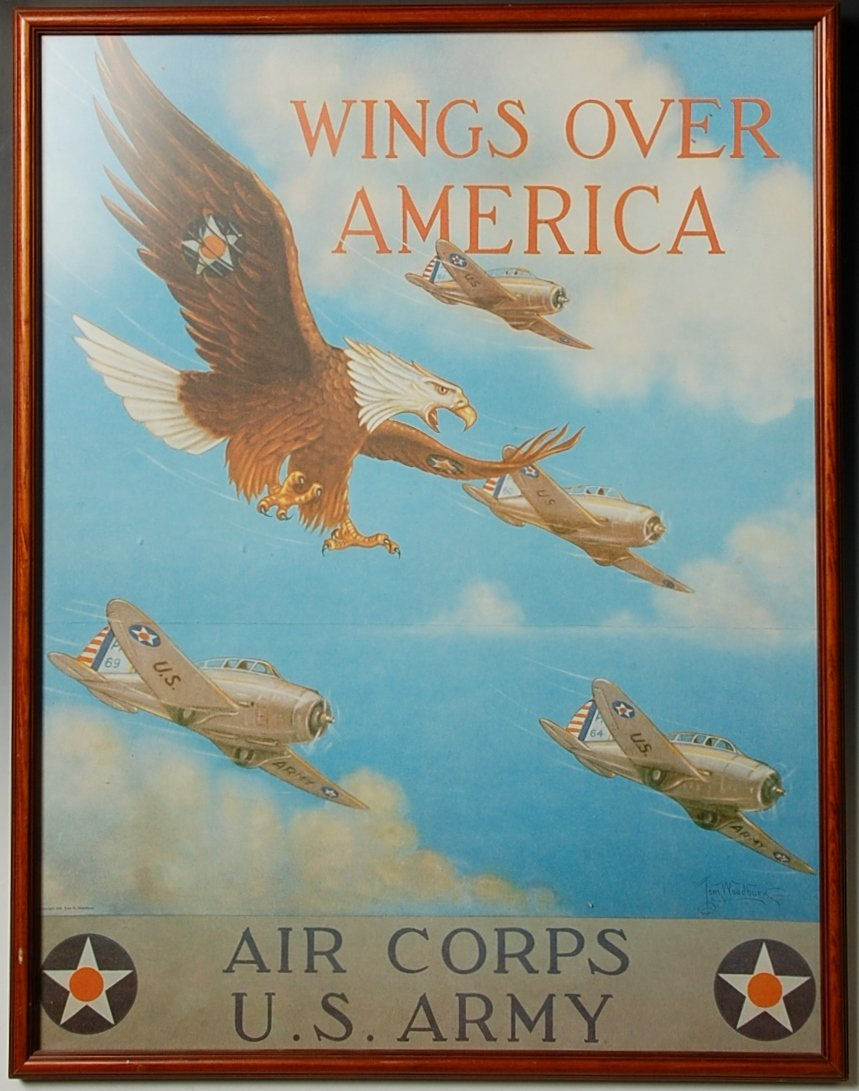 WINGS OVER AMERICA AIR CORPS US ARMY WWII POSTER