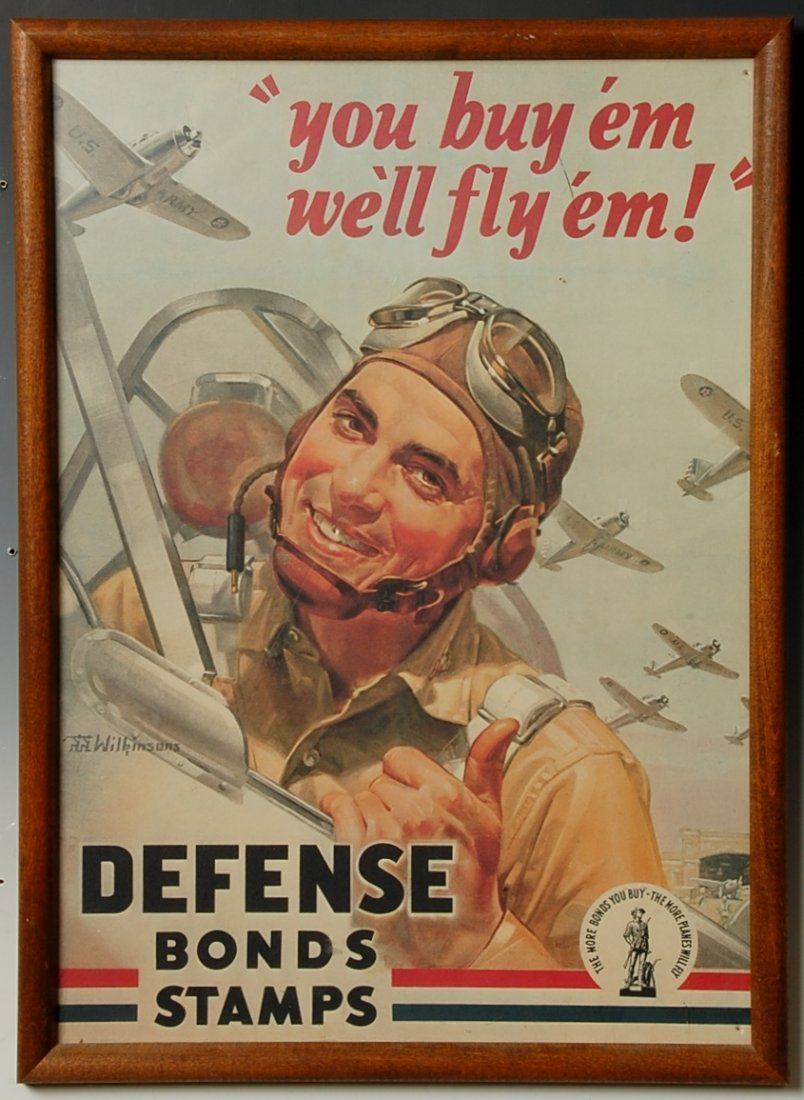 YOU BUY 'EM WE'LL FLY 'EM! DEFENSE BONDS WWII POSTER