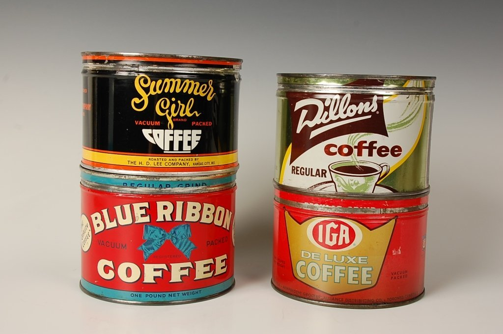 FOUR VINTAGE COFFEE CANS