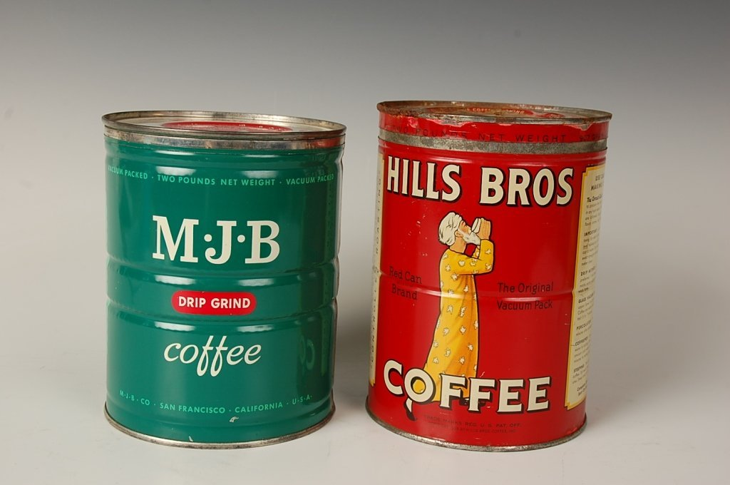 TWO VINTAGE COFFEE CANS