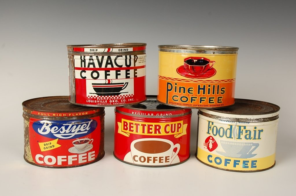 FIVE VINTAGE COFFEE CANS