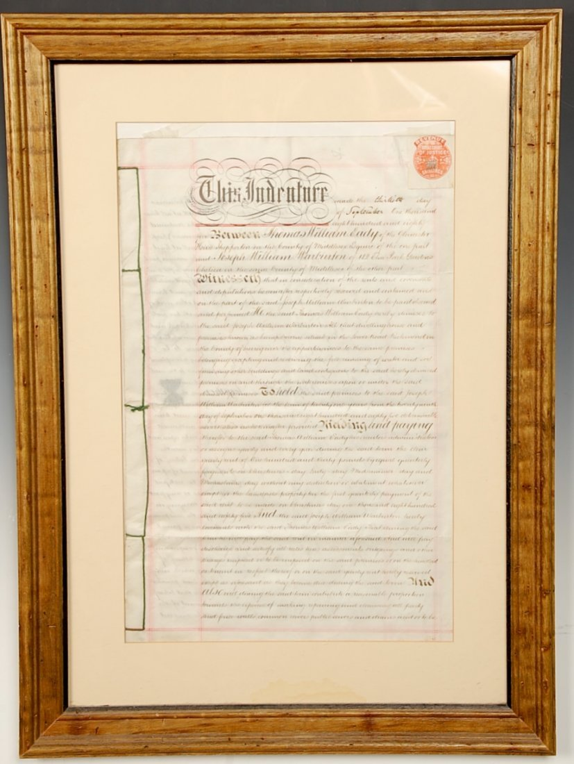 BRITISH INDENTURE DOCUMENT 1885 WITH SEAL