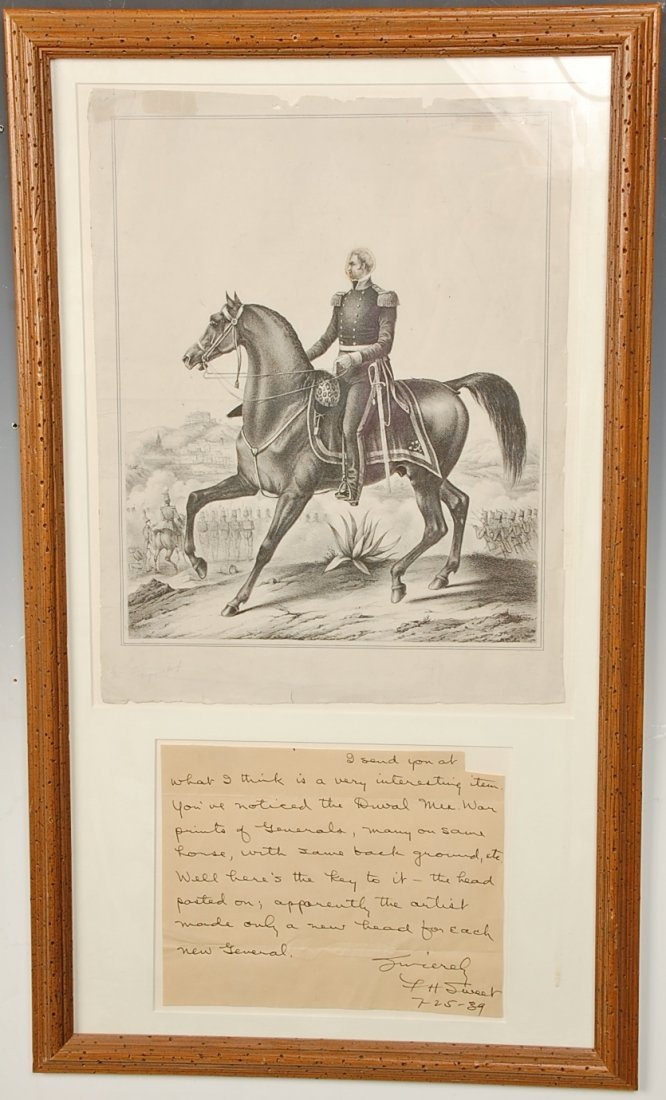 P.S. DUVAL LITHOGRAPH OF MEXICAN WAR GENERAL, LETTER