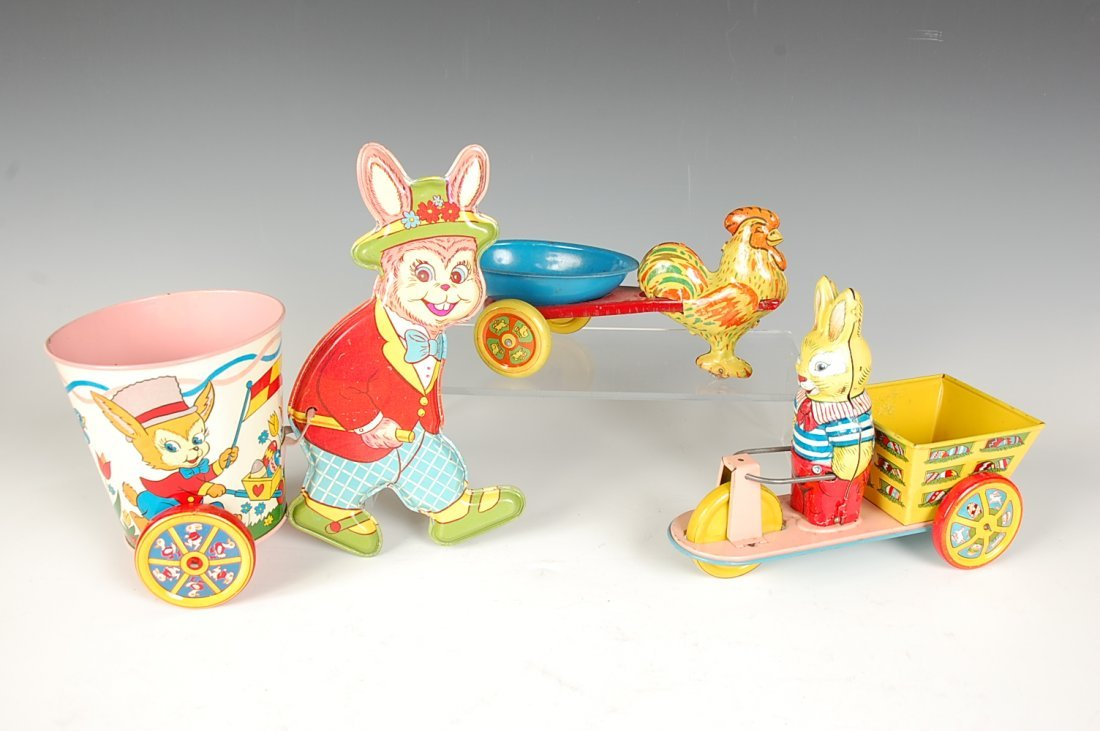 THREE EASTER THEMED TIN LITHO TOYS