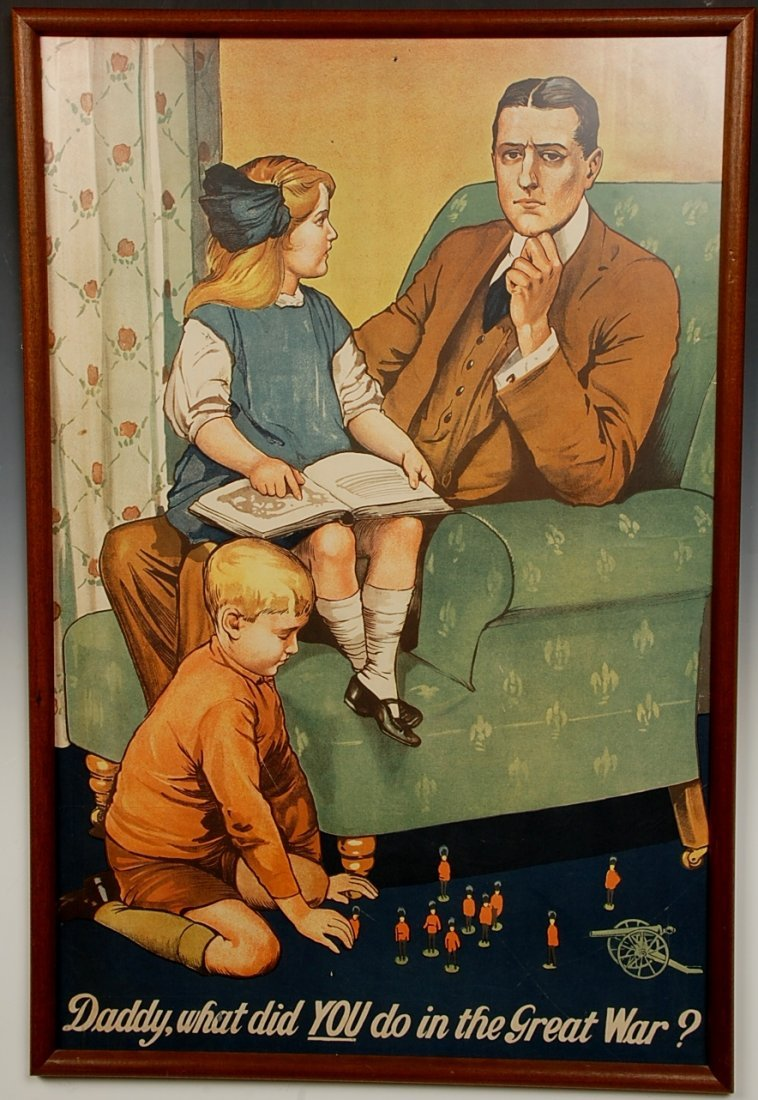 DADDY WHAT DID YOU DO DURING THE WAR' WWI POSTER SAVILE