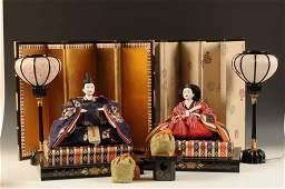 VINTAGE JAPAN HINAMATSURI EMPEROR  EMPRESS DOLLS