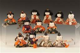 THIRTEEN SMALL VINTAGE HINAMATSURI DOLLS