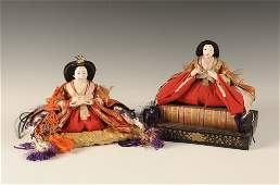 TWO VINTAGE HINAMATSURI EMPRESS DOLLS