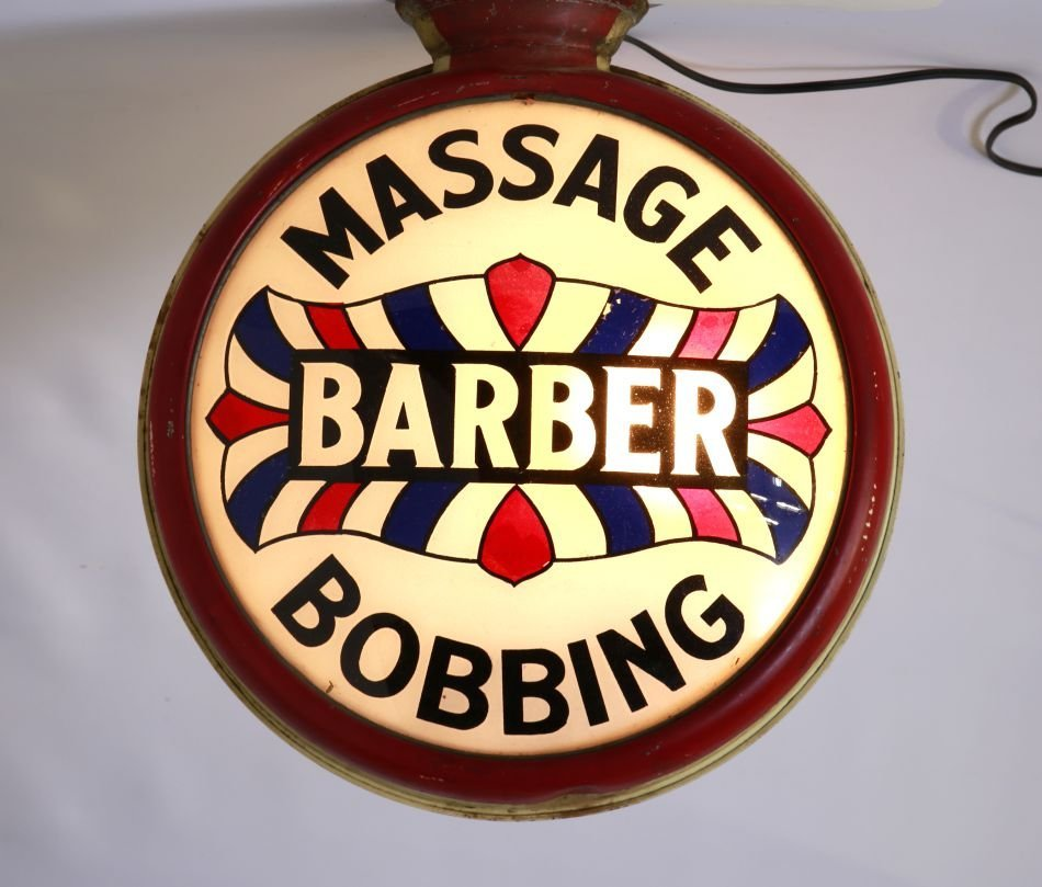 1930'S REVERSE PAINTED BARBER SIGN: BOBBING & MASSAGE