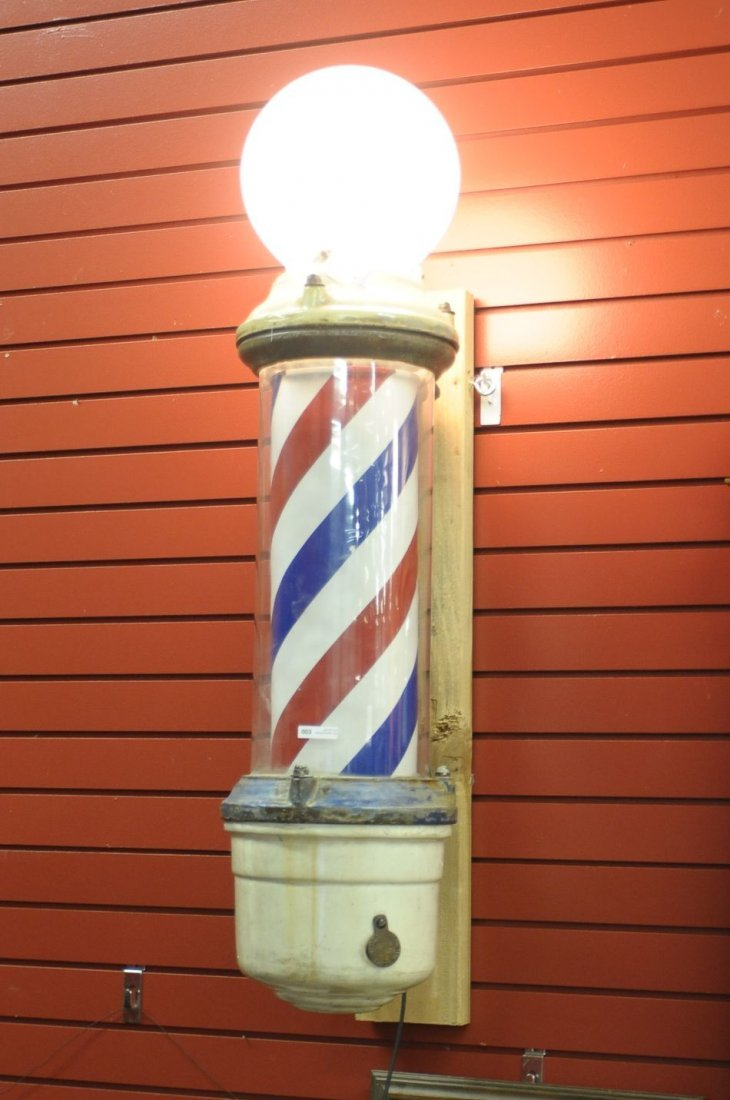 ANTIQUE CLOCKWORK BARBER POLE