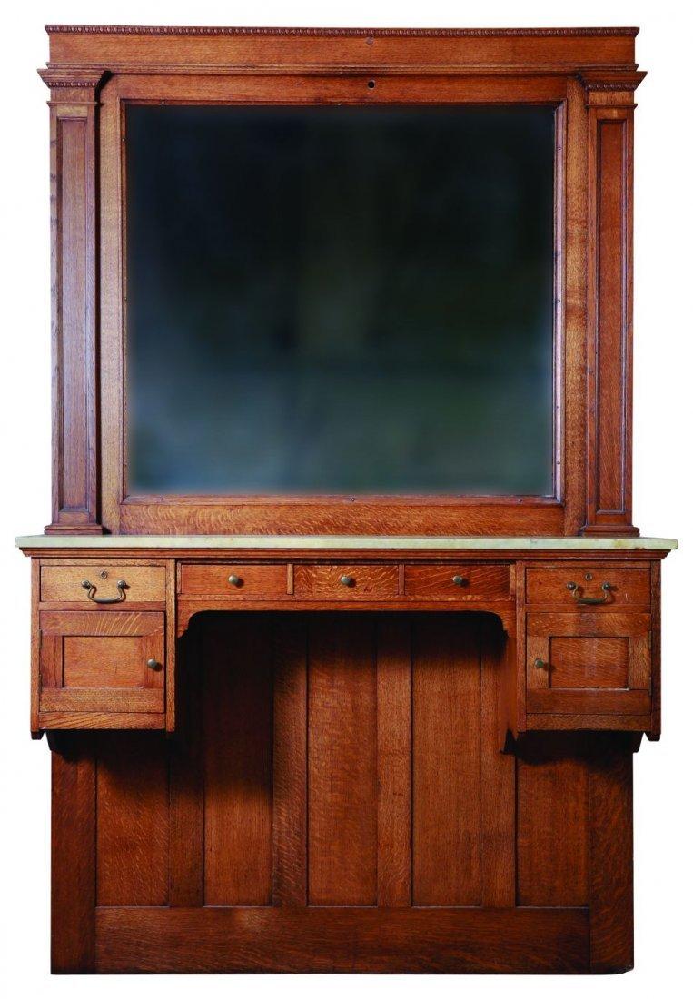 Oak bar mirrors with shelves - Nice Sized Antique Oak Barber S Back Bar Mirror