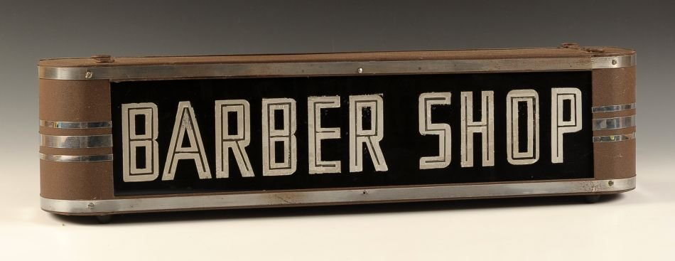 CIRCA 1930S REVERSE PAINTED LIGHTED 'BARBER SHOP' SIGN