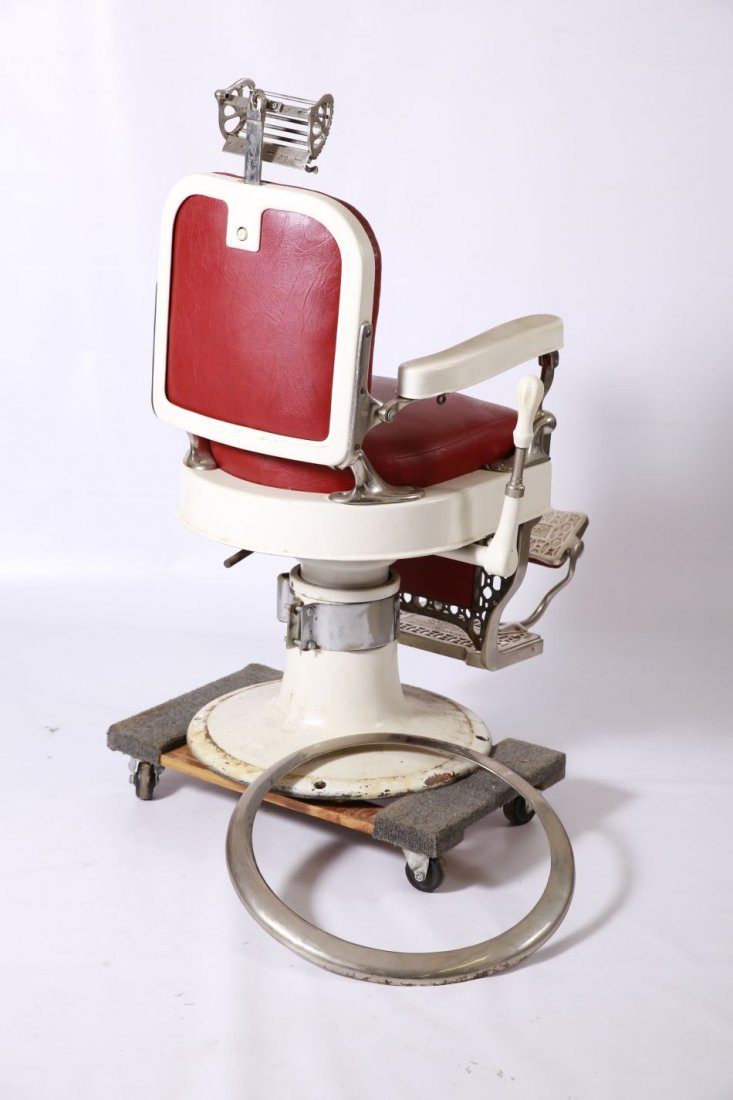 THEO A. KOCHS WHITE ENAMEL ANTIQUE BARBER CHAIR