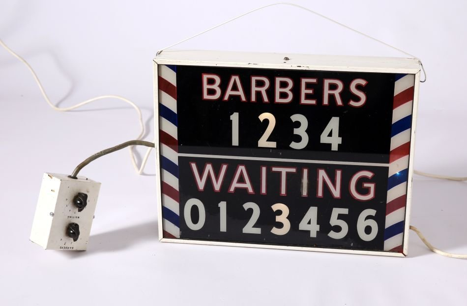 NEAT VINTAGE REVERSE PAINTED 'WAITING' BARBERSHOP SIGN