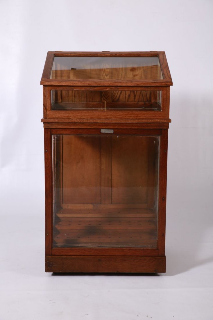 'SEMI-ANTIQUE' OAK WALKING STICK STORE DISPLAY CASE