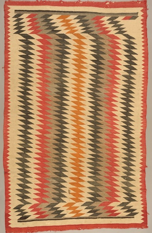 NAVAJO WEAVING WITH ALL-OVER DIAMOND DESIGNS