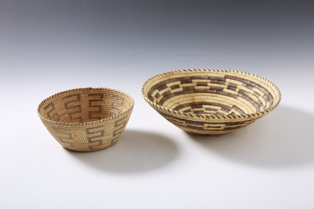 PAPAGO BASKETRY, TWO PIECES