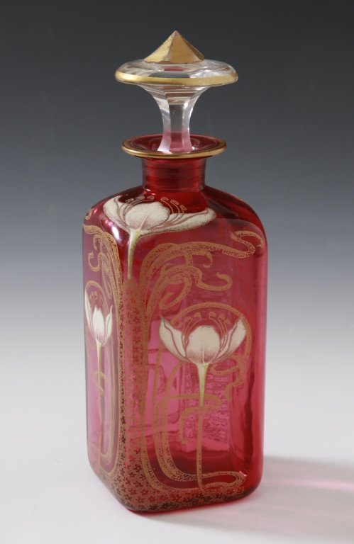 MONT JOYE FRENCH ART NOUVEAU ENAMELED GLASS BOTTLE