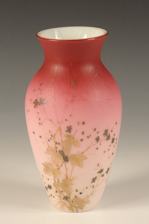 DECORATED PEACHBLOW ART GLASS VASE WITH ENAMEL