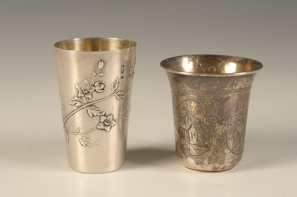 RUSSIAN 84 STANDARD SILVER KIDDISH CUPS
