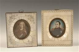 TWO MINIATURE IN IVORY PORTRAITS INCLUDING NAPOLEON