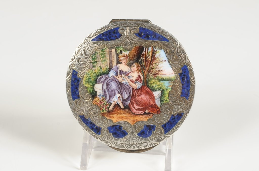 CHAMPLEVE COMPACT WITH A VERY FINE PAINTED SCENE