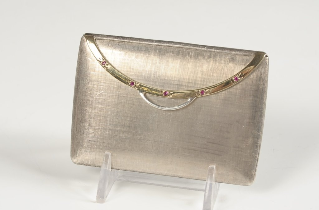 ITALIAN STERLING PURSE SHAPED COMPACT W RUBY STONES