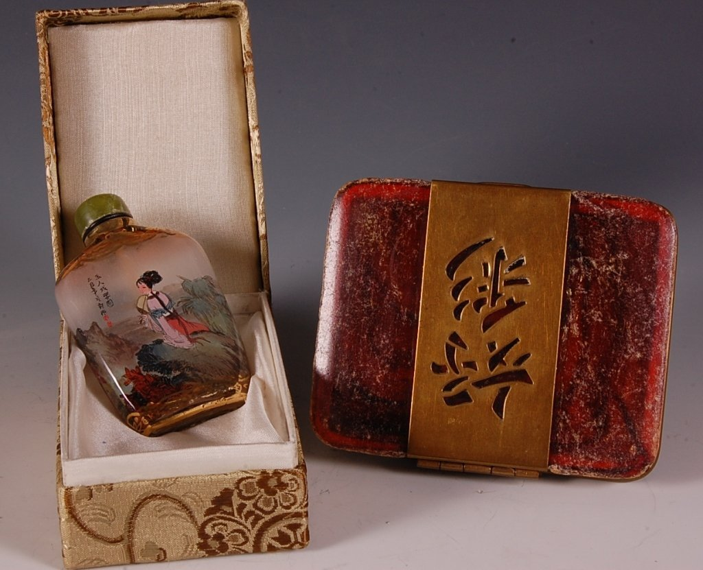 ASIAN REVERSE PAINTED PERFUME BOTTLE W GILDING