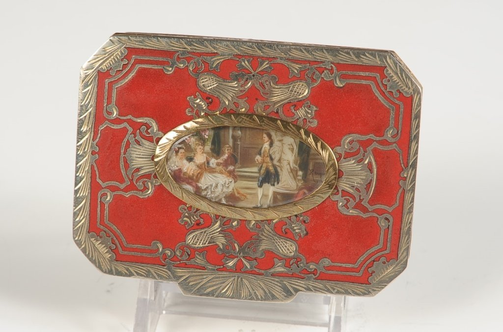 CHAMPLEVE ENAMEL COMPACT W A MINIATURE UNDER GLASS
