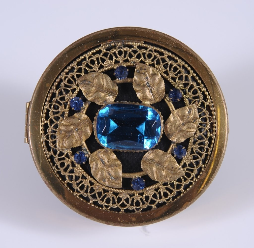 GOLDTONE FILIGREE WITH BLUE JEWELS COMPACT