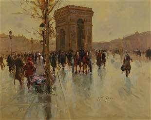 ANDRE GISSON (1921-2001) OIL ON CANVAS 'PARIS STREET'