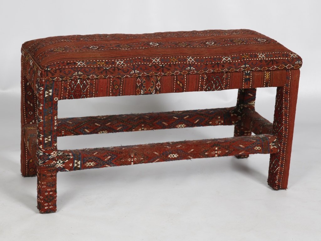 PADDED BENCH UPHOLSTERED WITH AFGHAN KILIM
