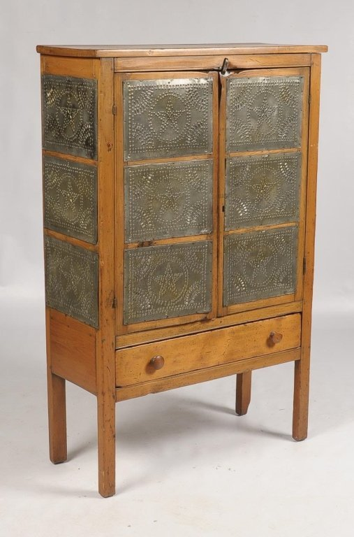 LATE 19TH CENTURY PIE SAFE WITH TWELVE PUNCHED TINS